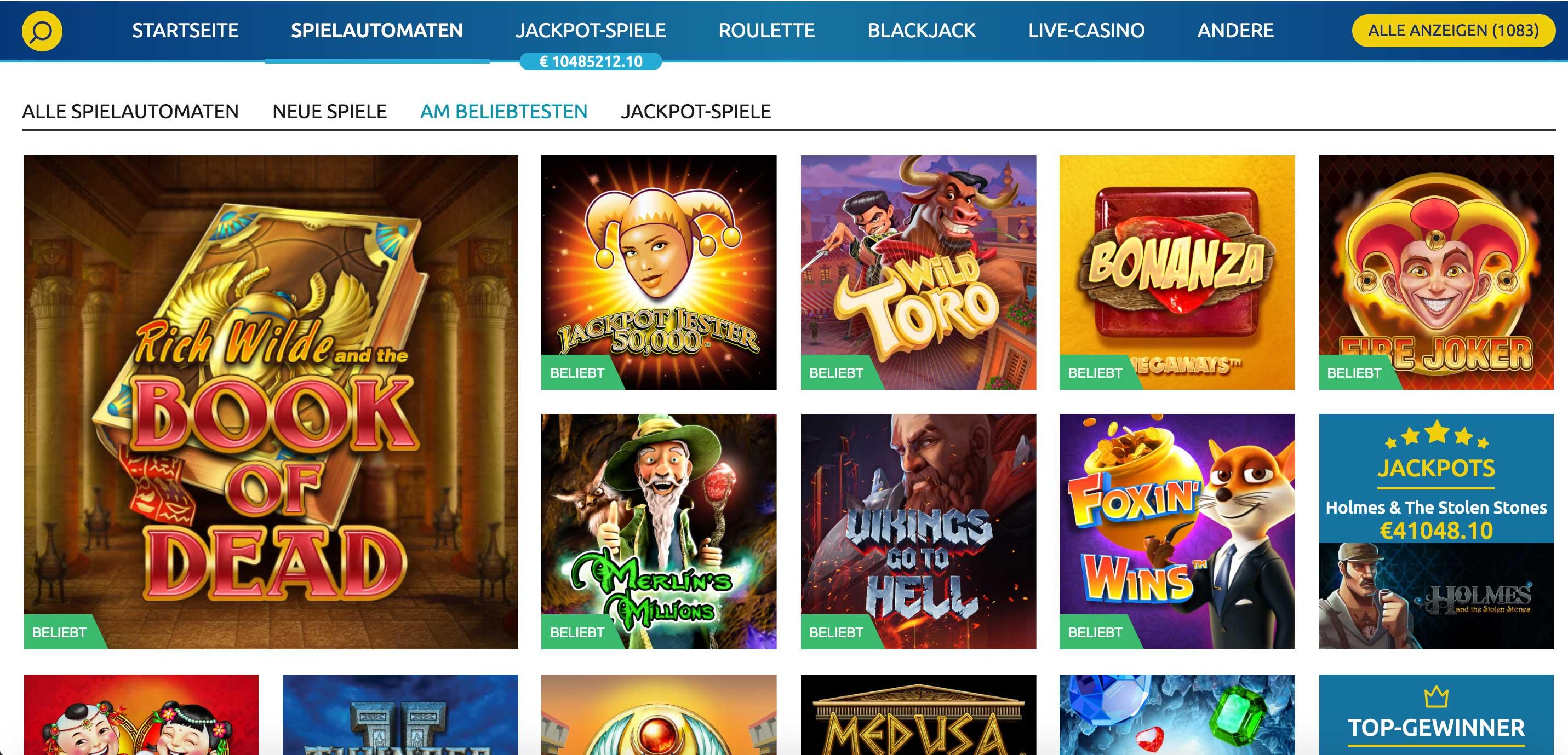 Casino Tischspiele und Spielautomaten