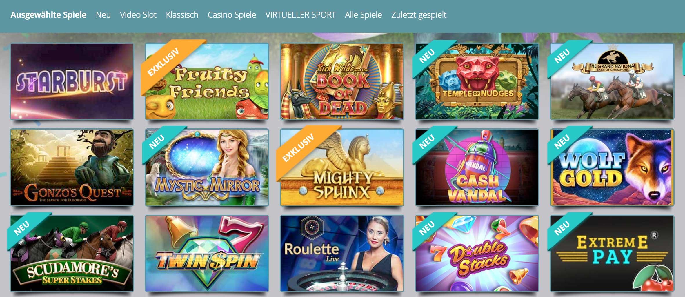 Casino Spieleliste für 20 Freispiele ohne Einzahlung