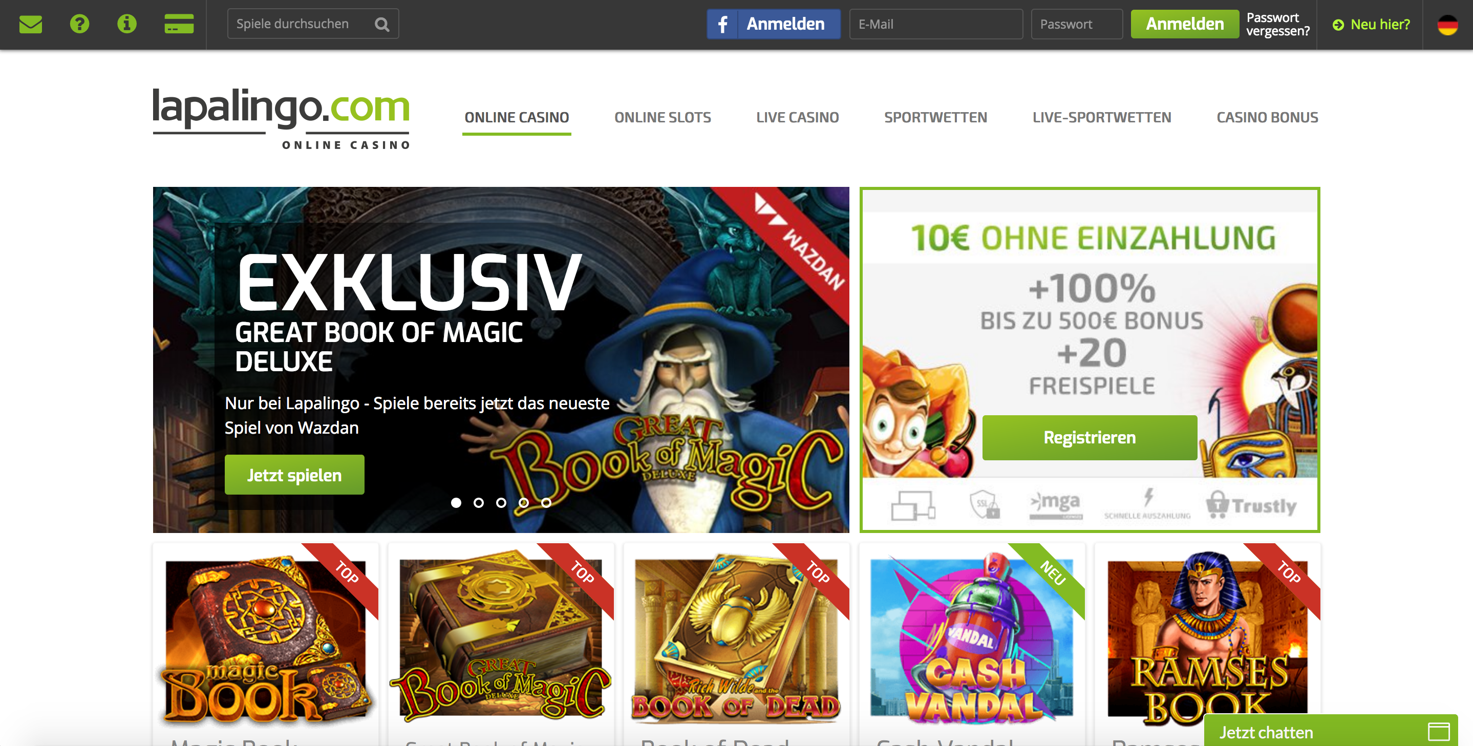 Lapalingo 10 Euro Bonus Homepage
