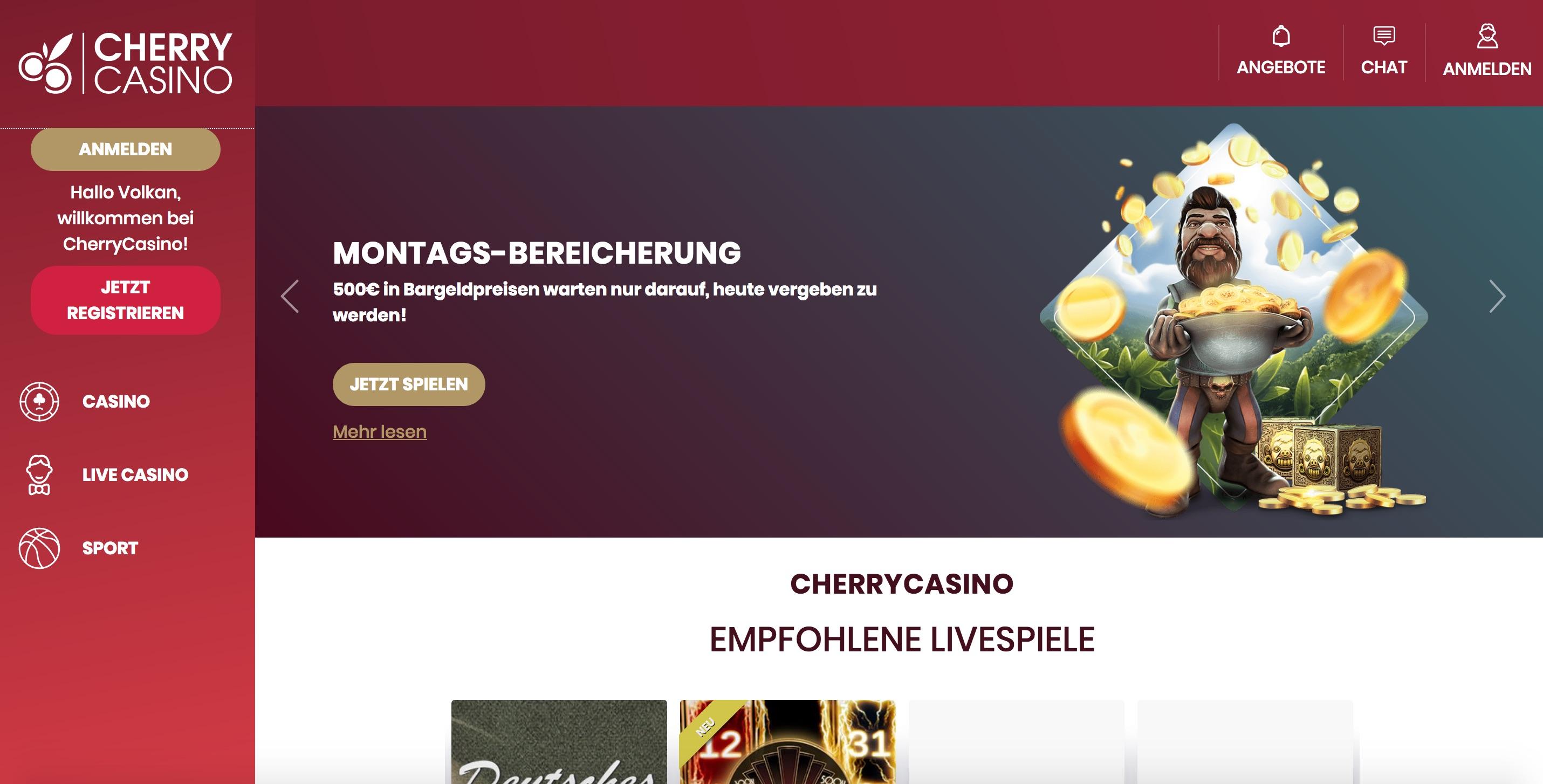 Cherry Casino Homepage