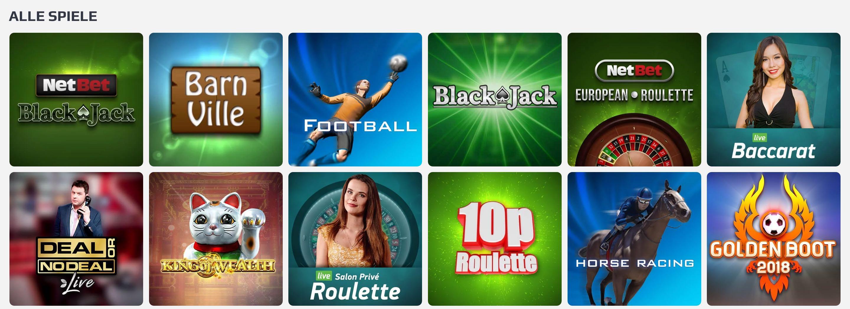 Casino Spieleangebot von NetBet