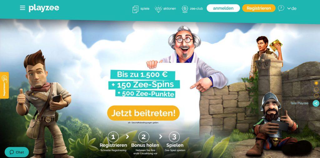 PlayZee Casino Startseite