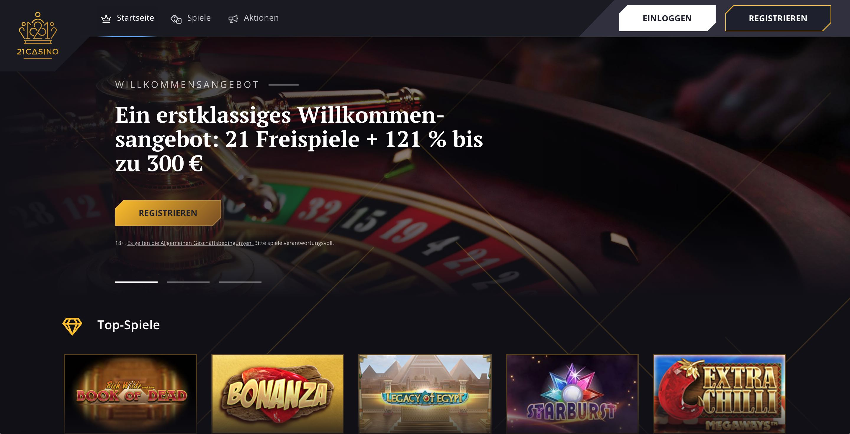 21Casino Homepage