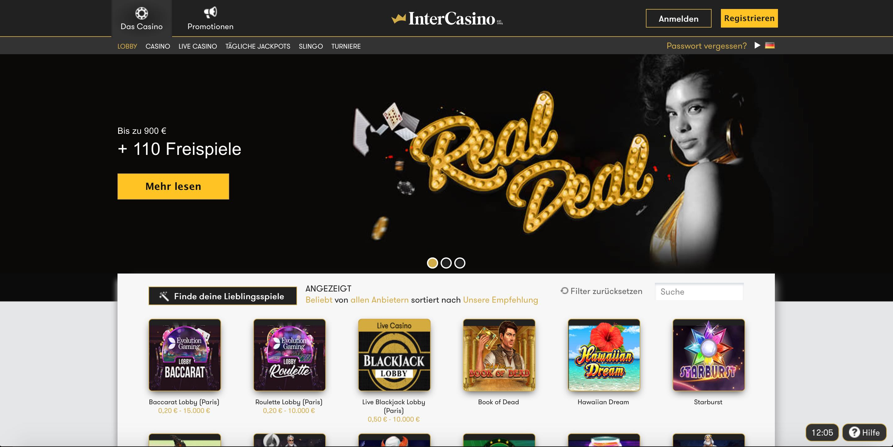 InterCasino Homepage
