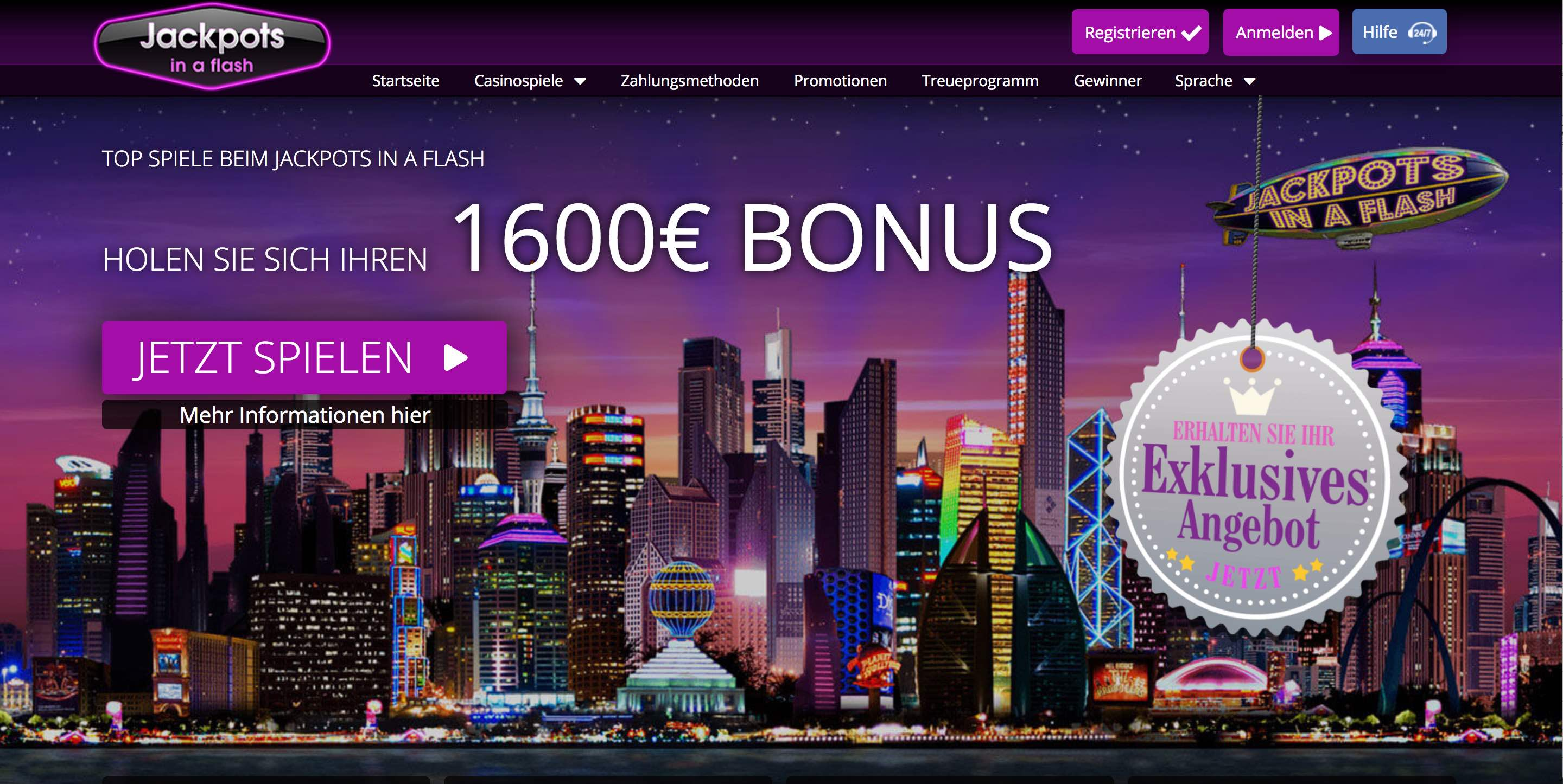 Jackpots In a Flash Homepage