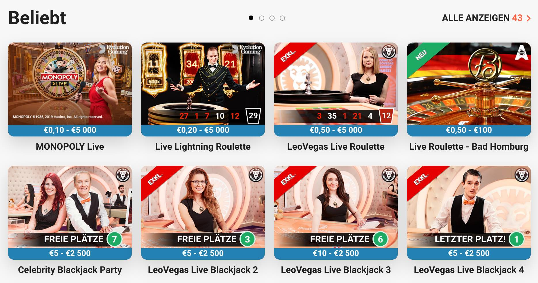 Live Dealer Spiele im Live Casino