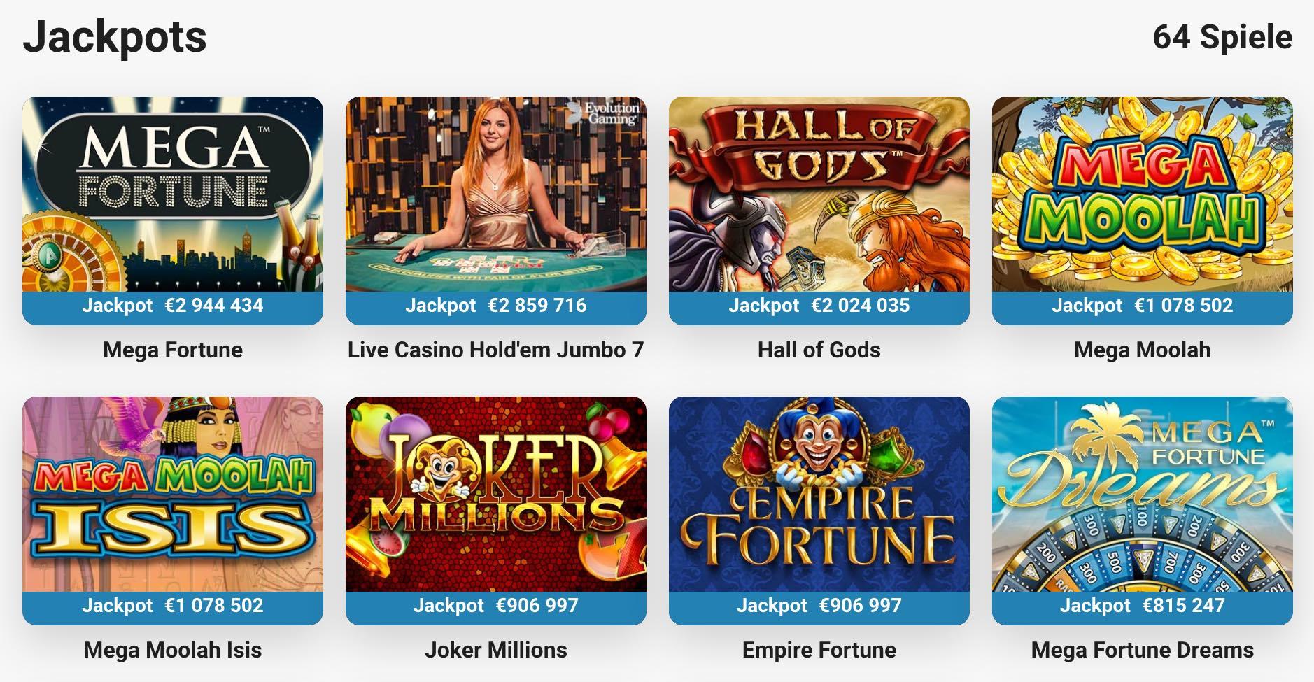LeoVegas progressive Slot Spiele