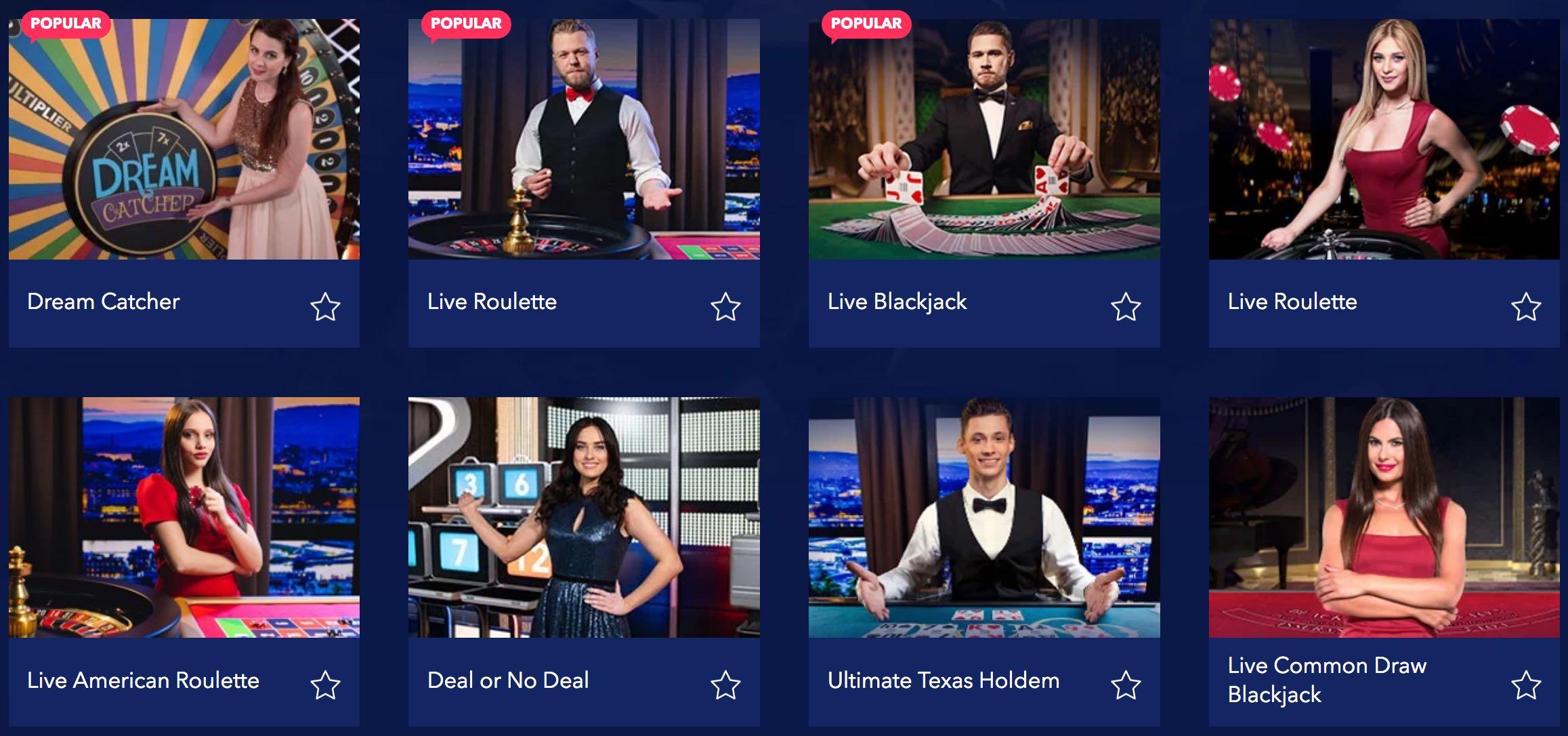 Live Dealer Tischspiele, wie Blackjack, Roulette und Poker Spiele
