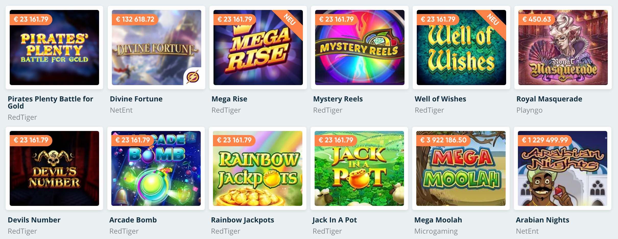 Progressive Jackpot Spiele im Speedy Casino