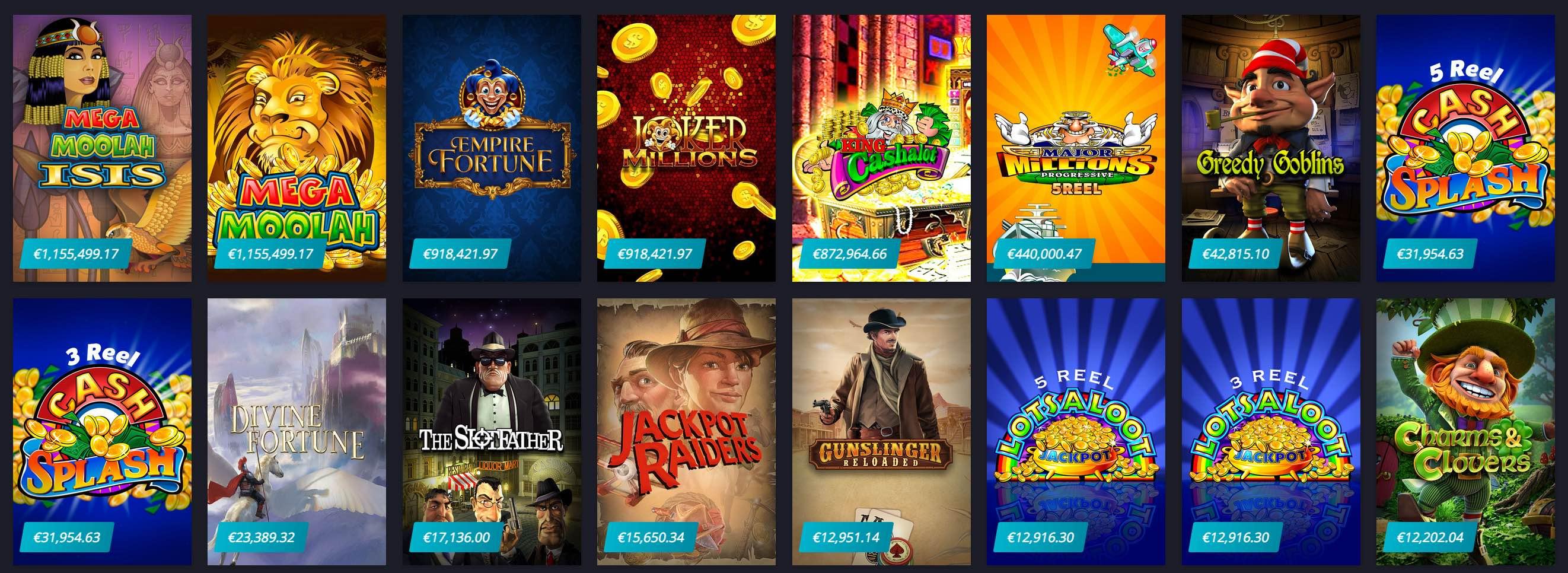 Mega progressive Jackpot Slots und Spiele