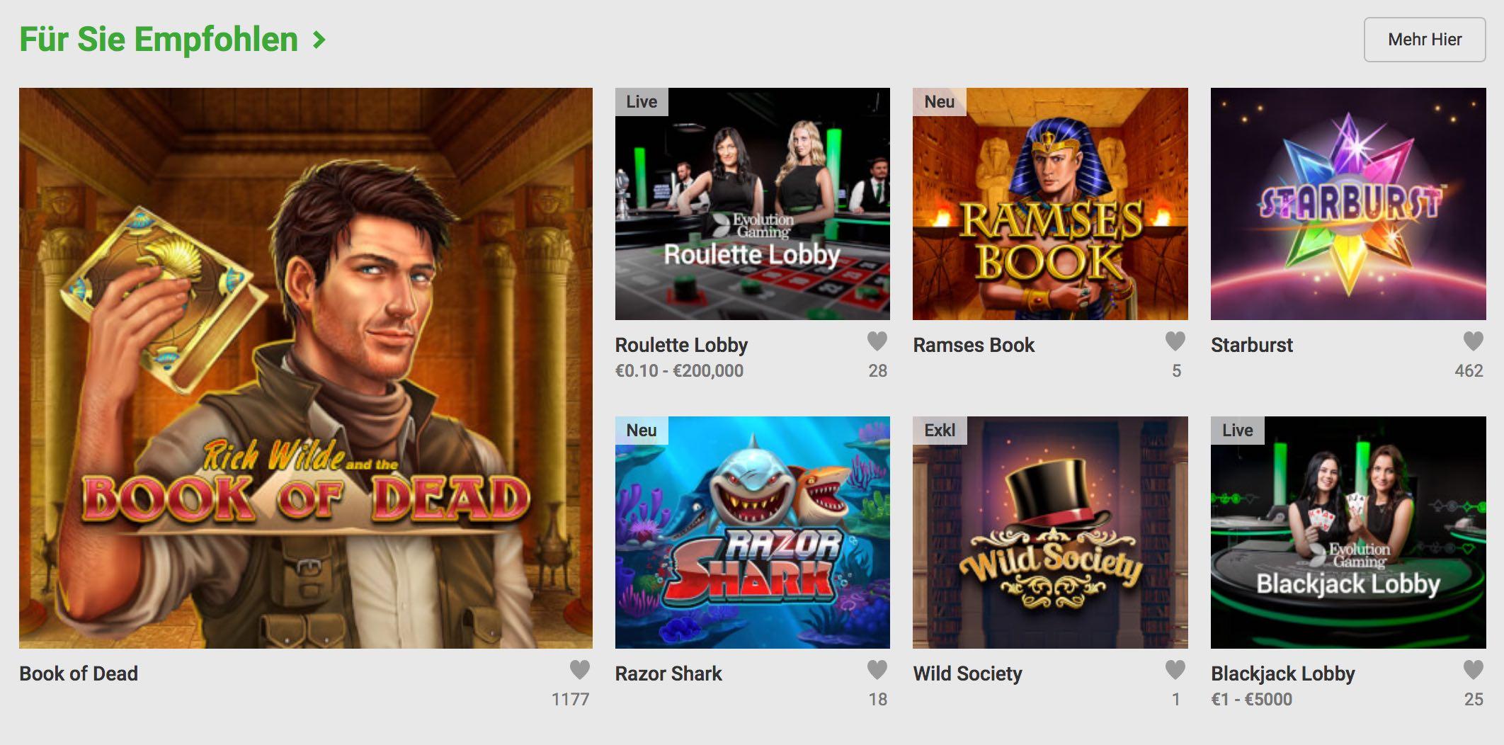 Empfohlene Tischspiele, Spielautomaten, Bingo, Poker und Live Spiele