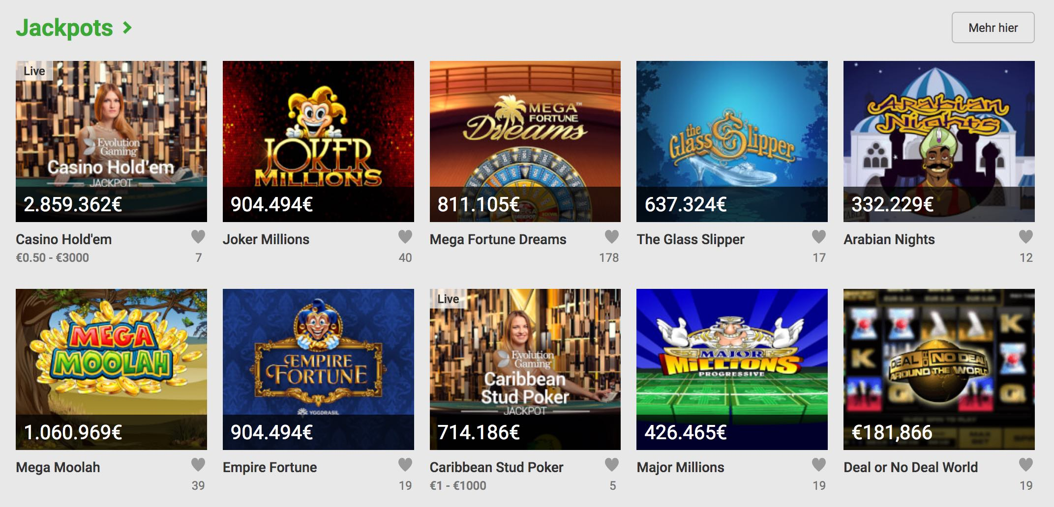 Unibet Casino Jackpot Spiele