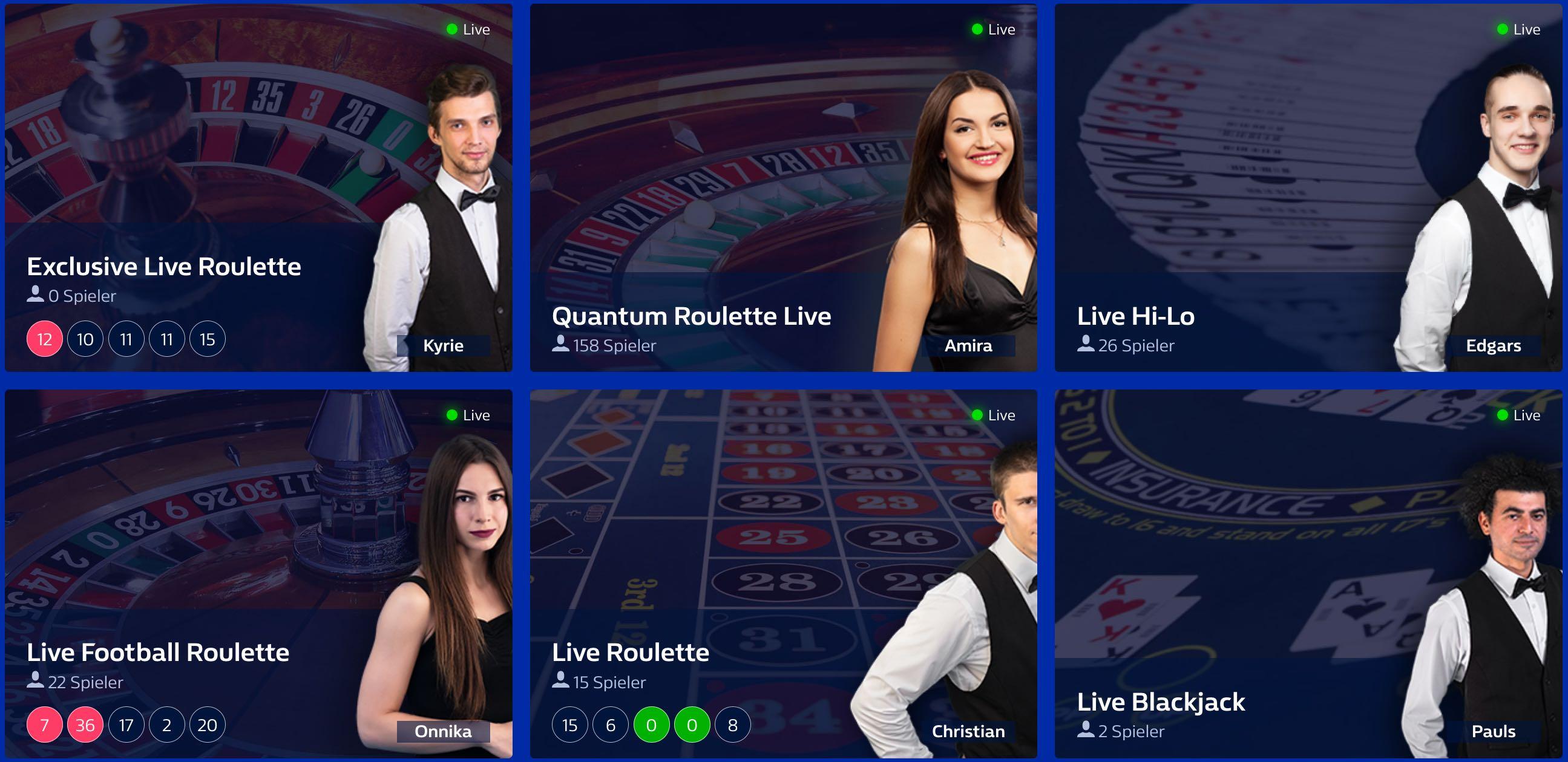 Live Casino Dealer Spiele