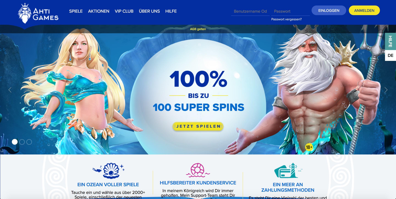 Ahti Casino Homepage