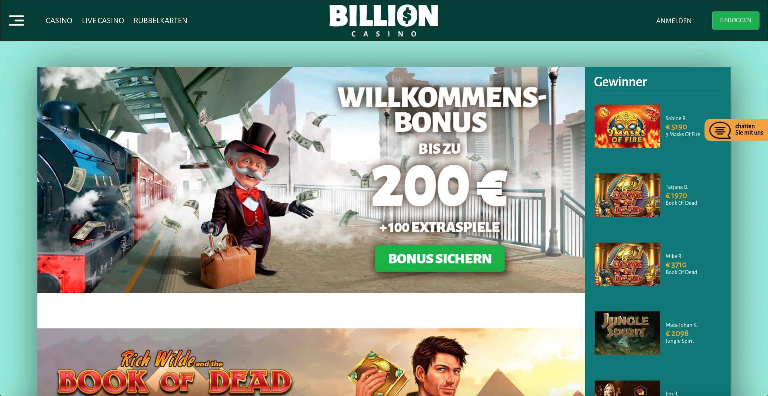 Billion Casino Homepage