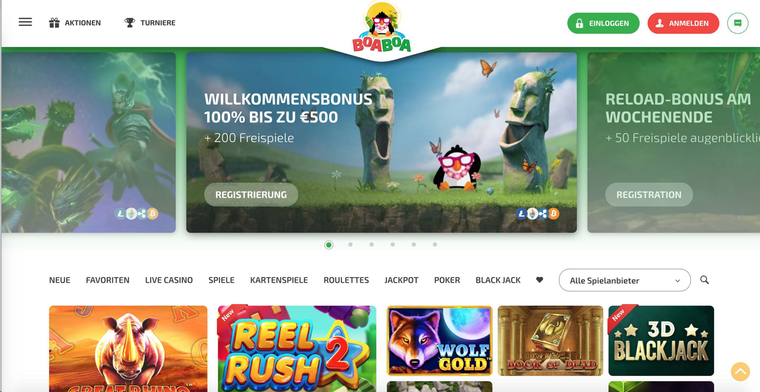 BoaBoa Casino Homepage