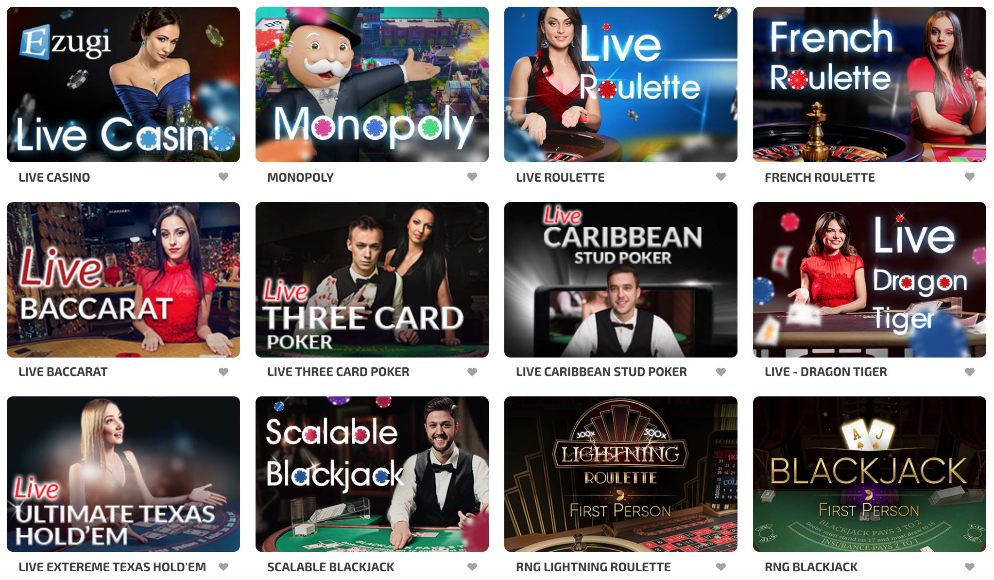 Live Casino Tisch und Kartenspiele
