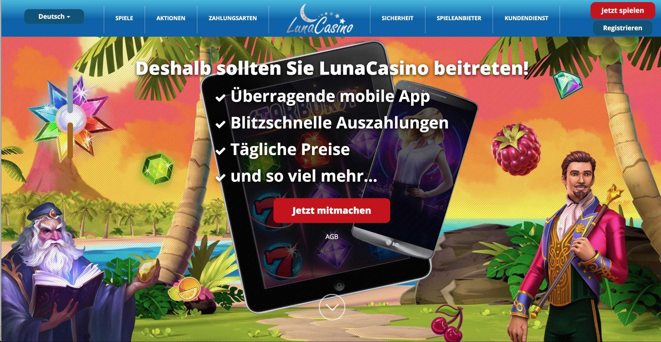 Luna Casino Homepage