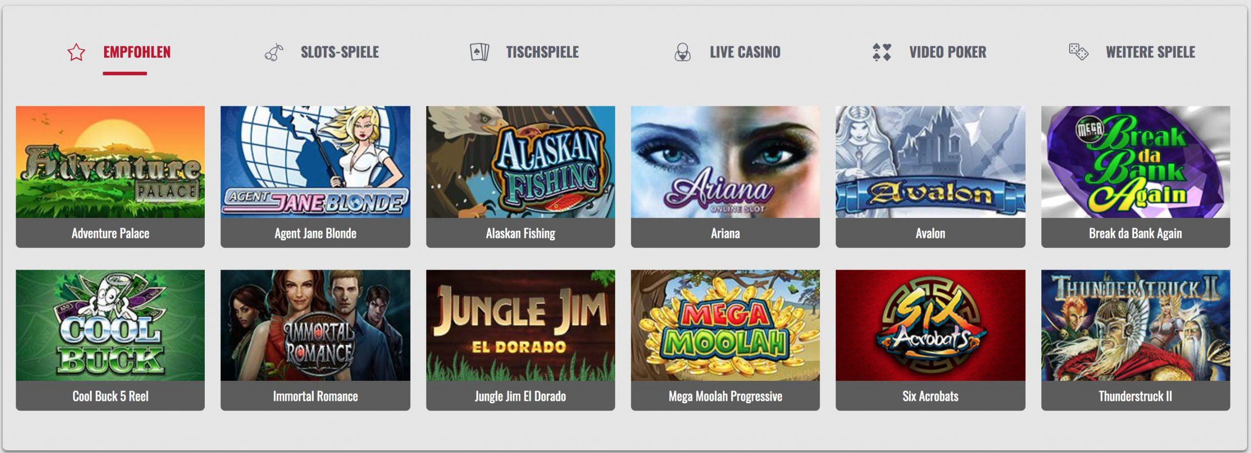 Empfohlene Online Casino Spiele