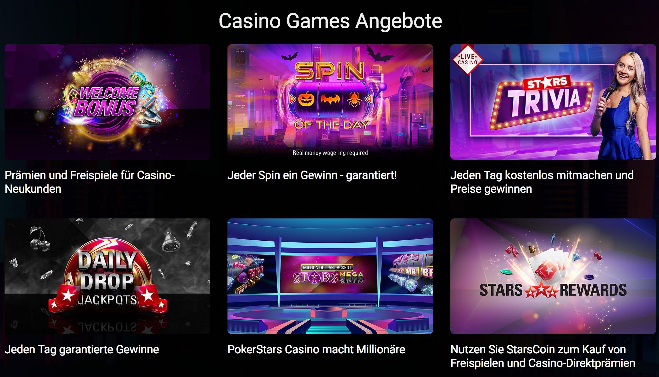PokerStars Casino Games Angebote