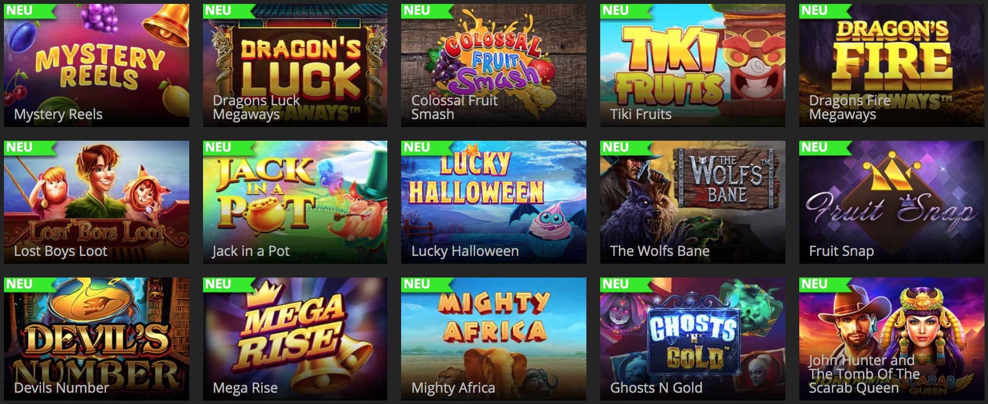 Spielautomaten, Slot Games und Tischspiele
